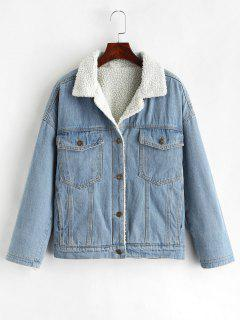 Drop Shoulder Fleece Denim Jacket - Denim Blue Xl