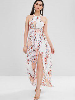 Vestido De Playa Floral Con Espalda Baja De Maxi - Multicolor L