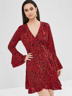 Flare Sleeve Leopard Flounce Wrap Dress - Red M