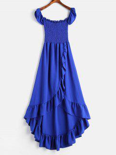 ZAFUL Volantes Deshilachado Vestido De Hombro - Azul S