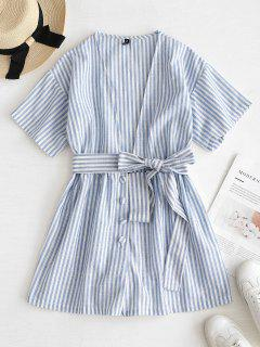 ZAFUL Striped Plunge Belted Romper - Powder Blue S
