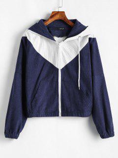 ZAFUL Two Tone Corduroy Jacket - Midnight Blue L