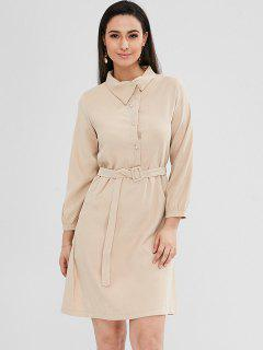 Half-button Belt Shirt Dress - Vanilla M