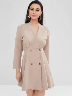 Double-breasted A Line Dress - Light Khaki