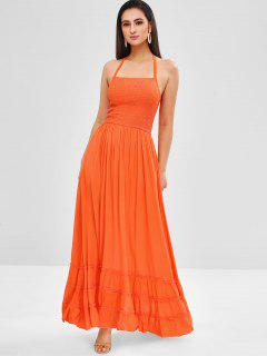 Halter Smocked Bodice Maxi Dress - Orange Xl
