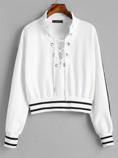 ZAFUL Stripes Lace Up Sweatshirt - White L