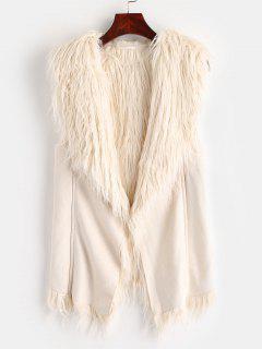 Faux Fur Lining Suede Waistcoat - Crystal Cream L