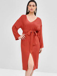 Vestido A Media Pierna Con Abertura En El Cuello - Rojo Cereza
