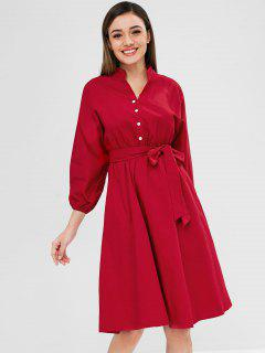 Half-button Dolman Sleeve Knee Length Dress - Lava Red L