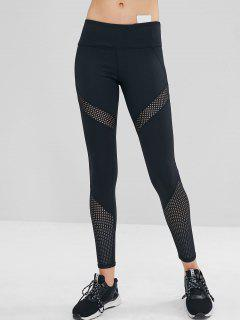 Perforated Insert Wide Waistband Leggings - Black M