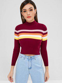 Gestreifter Mock Neck Crop Sweater - Roter Wein