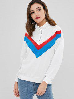 Pullover Mit Half Zipper - Weiß M