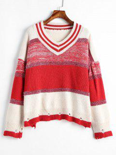 Ripped Metallic Thread Color Block Sweater - Multi-a