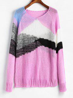 V Neck Patchwork Sweater - Blossom Pink