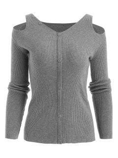 Cutout Ribbed Sweater - Slate Gray