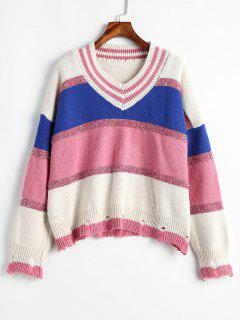Ripped Metallic Thread Color Block Sweater - Multi-b