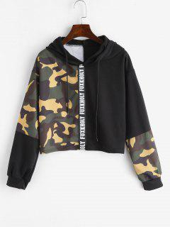 Letter Patched Contrast Camouflage Hoodie - Acu Camouflage M