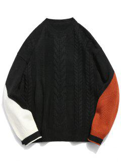 Contrast Twist Cable Knitted Sweater - Black Xl