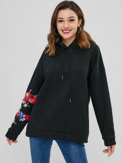 Pullover Floral Embroidered Loose Hoodie - Black M
