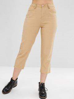 Pocket Straight Boyfriend Jeans - Camel Brown S
