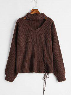 Lace-up Choker Sweater - Coffee