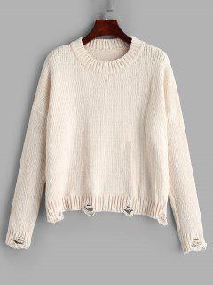 Suéter De Gran Tamaño Rasgado - Crema De Cristal