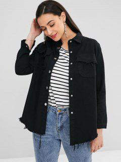 Frayed Pocket Shirt Jacket - Black M