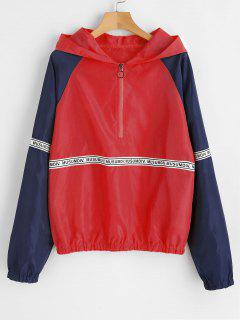 Letter Patched Half Zip Hoodie - Red L