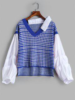Pull Panneau à Carreaux Haut Bas - Bleu Myrtille