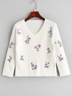 Suéter Bordado Floral Con Cuello En V - Blanco L