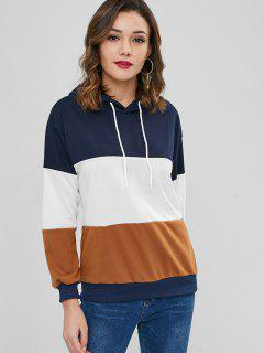 Pullover Drop Shoulder Hoodie With Drawstring - Multi Xl