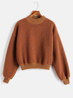 Plain Faux Shearling Sweatshirt - Brown