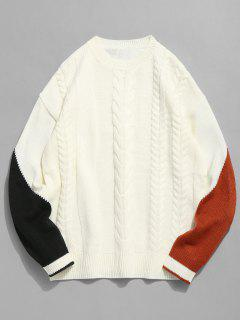Contrast Twist Cable Knitted Sweater - White 2xl