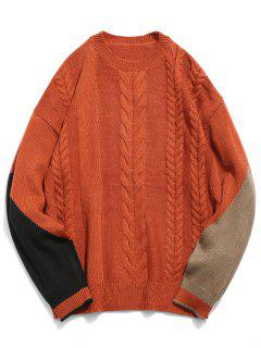 Contrast Twist Cable Knitted Sweater - Chestnut Red L
