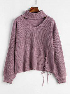 Lace-up Choker Sweater - Wisteria Purple