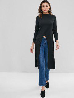 High Low Slit Longline T-shirt - Black S