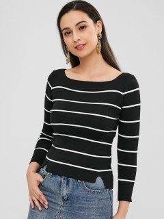 Striped High Low Jumper Sweater - Black