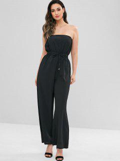 Drawstring Waisted Strapless Jumpsuit - Black L