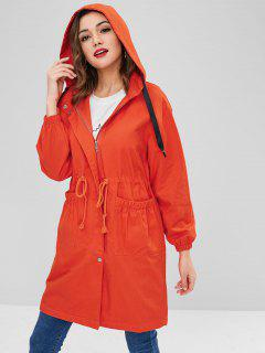 Manteau à Capuche Long Avec Poche Taille à Cordon - Orange L