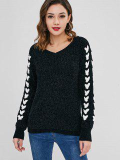 Kontrast Samt Pullover Mit Criss Cross - Schwarz M