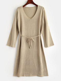 Belt Sweater Dress - Light Khaki M