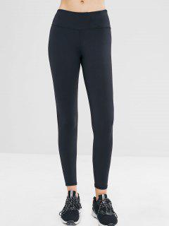 Hidden Pocket Wide Waistband Gym Leggings - Black S