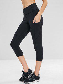 Pocket Crop Sports Leggings - Black M