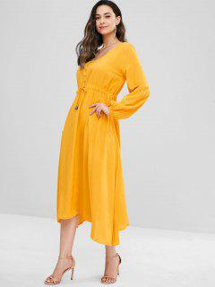 Button Embellished V Neck Midi Dress - Sun Yellow M