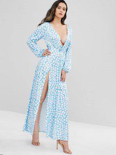 Surplice Geometric Side Slit Dress - Light Blue M
