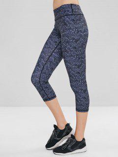 Geometric Hidden Pocket Crop Gym Leggings - Multi-a S
