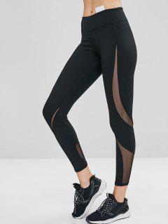 Hidden Pocket Mesh Insert Gym Leggings - Black L