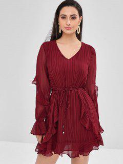 Ruffled Chiffon Mini Casual Dress - Red Wine L