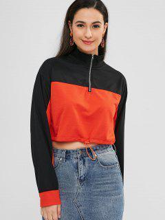 Half Zipper Short Contrast Sweatshirt - Multi M