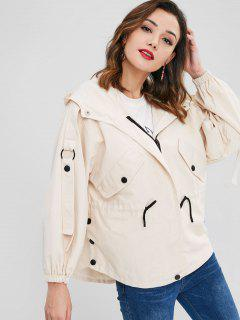 Drawstring Hooded Zip Up Coat - Champagne S